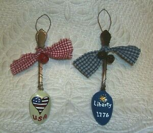 Primitive Style Hand Painted Spoon Ornaments Americana Patriotic July 4th