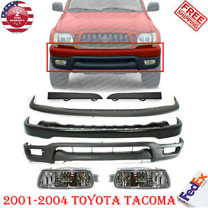 Front Bumper Black Filler Valance Fog Lights For 2001 2004 Tacoma Pre 7pc
