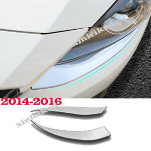 Front Headlight Lamp Light Eyelid Eyebrow Cover Trim For Mazda 3 Axela 2014 16
