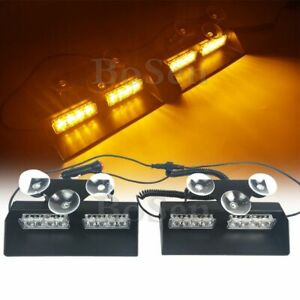2in1 16 Led Emergency Warning Dash Deck Sucker Strobe Windshield Light Bar Amber