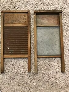 Two Vintage Washboards Busy Bee No 16 And National Washboard Victory No 508