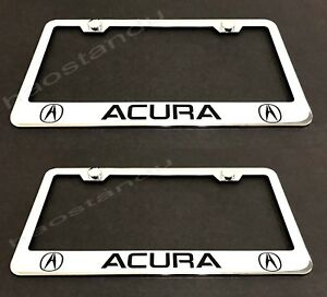 2xacura Stainless Chrome License Plate Frame W Screw Caps Style Ll 2003 2018