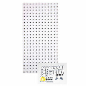 24 X 48 In White Wood Pegboard Panel 36 Pcs Locking Hook Wall Tool Organizer Set