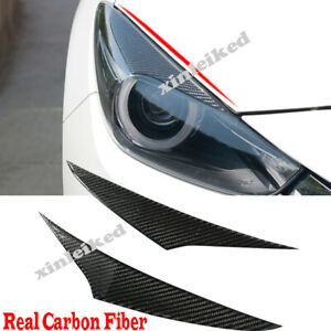 Dry Carbon Fiber Headlight Eyebrow Eyelids Trim Cover For Mazda 3 Axela 2014 16