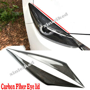 For Mazda 3 Axela 17 19 Carbon Fiber Headlight Eyebrow Eyelids Cover Trim Decor