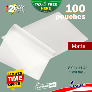 100 Clear 3mil Thermal Laminating Pouches Sheets Letter Size Matt Matte Rounded