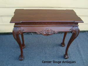60011 Solid Mahogany Console Hall Table Server Stand With Claw Feet