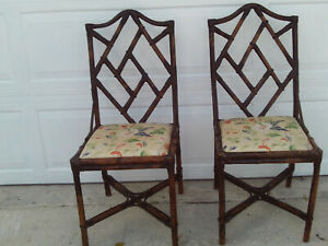 Pair Of Brown Vintage Bamboo Chinese Chippendale Chairs