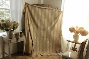 Ticking Fabric Antique French Day Bed Cover Linen Khaki Brown Fabric Material