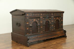 Oak Carved Antique German Dowry Trunk Blanket Chest Signed Richters 1802 30969