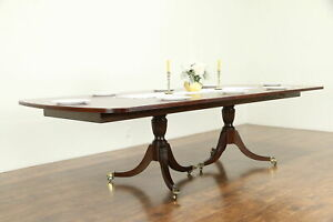 Banded Mahogany Vintage 10 Dining Table 2 Leaves Ethan Allen 30967