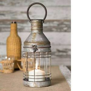 Country New Distressed Tin Carriage Candle Lantern