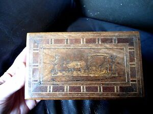 Late Victorian Portugese Madeiran Inlaid Wooden Box With Lock No Key R2