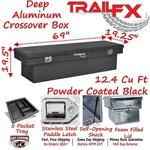 111702 Trailfx 69 Black Aluminum Crossover Truck Tool Box Extra Deep