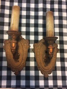 Matching Pair Polychromed Metal Riddle Company Wall Sconces