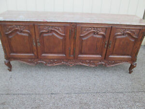 58752 Quality Solid Oak Marble Top Buffet Sideboard Server Cabinet New York