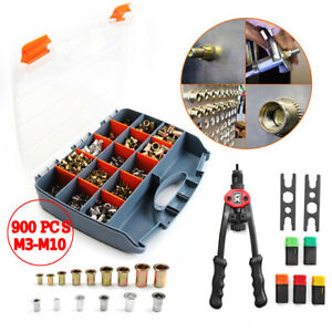 900pcs Nutsert Tool Kit M3 m10 Stainless Steel Hand Riveter Rivnut Nut Insert Us