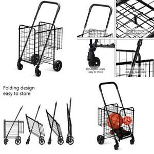 Goplus Folding Shopping Cart Jumbo Double Basket Perfect For Grocery Laundry Boo