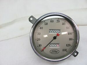 Stewart Warner 1934 Ford Speedometer 130 Km H Curved Glass Cable Driven Clean