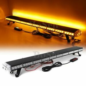 46 86w Led Amber Emergency Warning Tow plow Truck Roof Strobe Light Bar Yellow