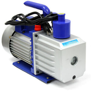 7 Cfm 3 4 Hp Two 2 Stage Rotary Vane Deep Vacuum Pump 110v 60hz Hvac Ac Tool