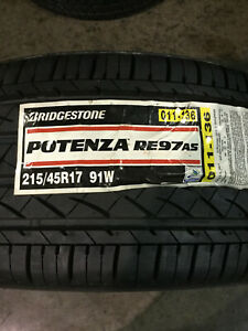 4 New 215 45 17 Bridgestone Potenza Re97 A s Tires