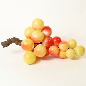 Large Vintage Alabaster Marble Stone Red Yellow Grape Cluster Mid Century 14