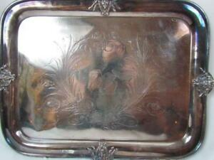 Large Antique Silverplated Butler S Serving Tray With Neptune Facial Swan Etched