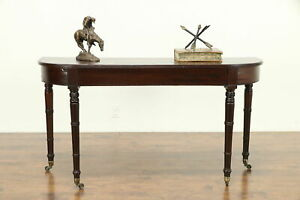 Sheraton Antique 1825 Mahogany Hall Console Or Sofa Table Brass Wheels A 30992