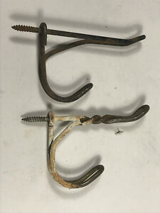Pair X2 Rustic Rusty Farm Dust Bowl Steel Wire Coat Clothes Hooks Hangers