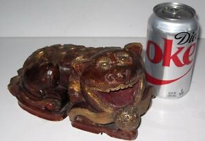 Antique Asian Hand Carved Wooden Foo Dog Sculpture Gilded Red Wood