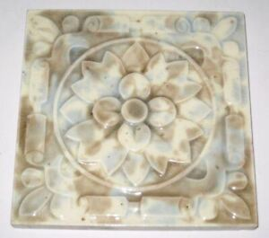 Antique Floral Geometric Flower Victoria English Molted Tile C 1890 S