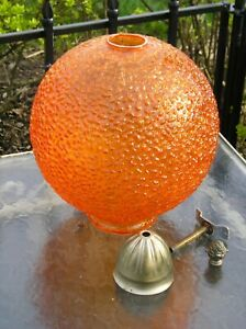 Beautiful Mid Century Modern Orange Round Glass Crackle Lamp Shade 10 1 2 Tall