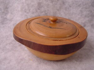 Antique Hand Carved Asian Wood Dipping Bowl
