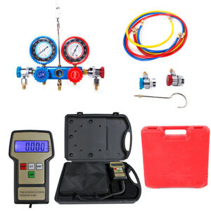 R134a Hvac Manifold Gauge Air Condition A c And Digital Refrigerant Scale Kit Us