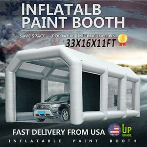 33x16x11ft Largemobile Portable Inflatable Car Spray Paint Tent Auto Paint Booth