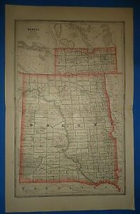 Vintage 1886 Dakota Territory Map Old Antique Original Atlas Map A