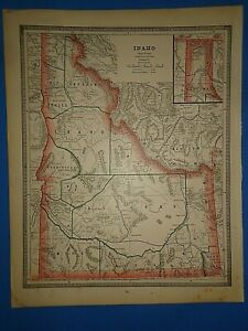Vintage 1886 Idaho Territory Map Old Antique Original Atlas Map B