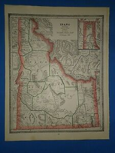 Vintage 1886 Idaho Territory Map Old Antique Original Atlas Map A