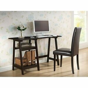 Porch Den Hanalei Dark Brown Wood Modern Desk With Sawhorse Legs small