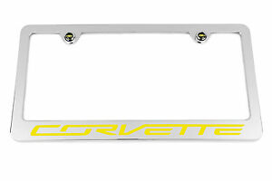 2014 2019 Chevrolet C7 Corvette Chrome License Plate Frame Yellow Usa