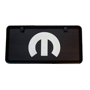 Black Mopar License Plate Vanity Tag Frame Silver Engraved M Usa Made