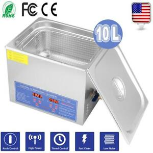 Ultrasonic Cleaner 10 L Liter Stainless Steel Industry Heated Clean Glasses Us