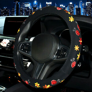 Ladybug Embroidered Steering Wheel Cover Glove Soft Padded Car Van Fit 38cm