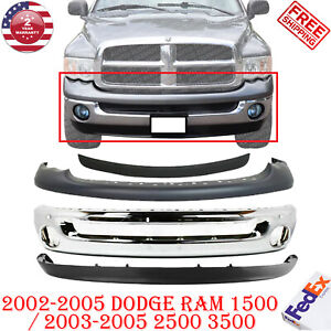 Front Chrome Bumper Up Lower Valance For 2002 2005 Dodge Ram 1500 3500 4pc