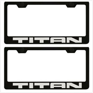 2x Black Titan Racing Stainless Steel License Plate Frame Cover For Nissan Titan