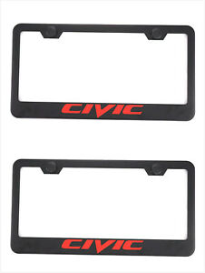 2x Black Civic Stainless Steel License Plate Frame Cover Screw For Honda Civic