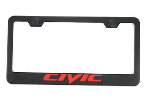 1x Black Civic Stainless Steel License Plate Frame Cover Screw For Honda Civic