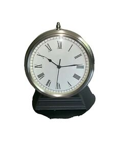 Steinless Steel Table Clock Working Condition Tall 12 Long 7 1 2