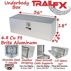 190361 Trailfx 36 Polished Aluminum Underbed Truck Trailer Tool Box